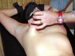 Dutch amateur slavegirl in neeedle pain and electro torments on her tits and pus