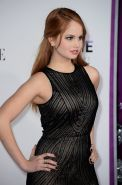 Debby Ryan showing off her curvy body in a short tight black dress at Justin Bie