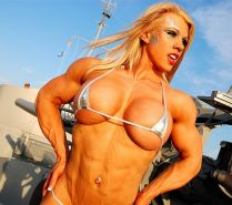 Busty blonde Female Bodybuilder with amazing hot muscle body
