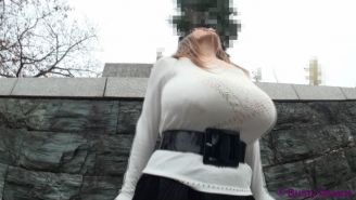 Amateur busty asian with monster big tits posing in public