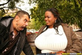 Unreal super huge natural tits black babe gets her 40plus tit size fucked hard a