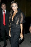Eva Longoria shows cleavage leaving a party at Beso in LA