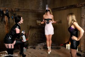 Nicki Blue curly blonde bdsm ballerina dominated by two lezdoms