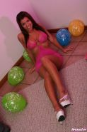 Pictures of Briana Lee playing with balloons