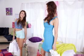 Marina Angel and her stepmom Syren Demer seduce the guy spying on them
