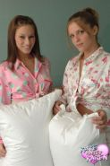 Hot teens Karen and Kate have a naughty pillow fight