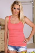 Blonde babe Christen Courtney gets gang-banged by two studs
