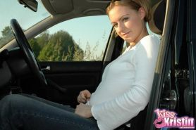 Blonde teen Kiss Kristin strips and teases in her car