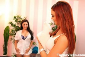 Taylor gives a hot lesbian massage to Jayden Cole