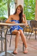 Redhead teen Anyah masturbates with restaurant food and goes naked in public