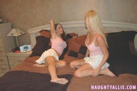 NaughtyAllie fucks Taylor Little silly with huge strap on