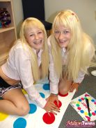 Blonde sisters Cherish and Cali invite their hot teen friends over for some lesbian pussy eating