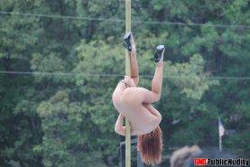 Hot sexy strippers show off and tease the crowd at a outdoor public nudity party