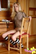 Pictures of teen Nastya 18 in a see-through shirt and socks