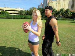 Really hot fit blonde teen Addison Avery with nice ass gets fucked after playing football