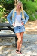 Madison Lain is sexy in her denim skirt and jacket while she gets down and dirty on a picnic table