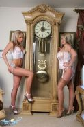 Ann Angel and Faith go tick tock together with a big clock