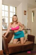 Jodie Gasson strips down to her pink panties to show off her big natural boobs