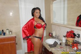 Ebony teen with big boobs in red lingerie gets nailed hard in the bathroom