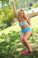 Jodie Gasson strips on the swing from cute top and tight shorts
