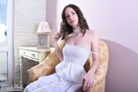 Brunette teen Dama shows you what's under her white dress