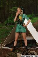 Redhead girl scout Dolly Little gets turned on while camping
