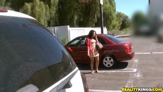 Brunette amateur Audrey Aguilera gets picked up in a parking lot for some hot sex