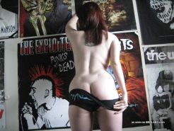 Collection of a kinky punk chick flashing her tits and ass