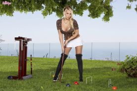 Busty blonde Madison Ivy plays the sexiest game of lawn polo ever