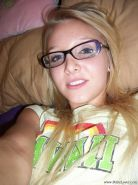 Sexy tiny blonde teen Elle shoots topless selfies in her sexy glasses