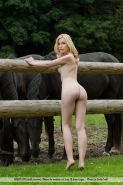 Pictures of blonde teen girl Kala enjoying her nudity on the farm