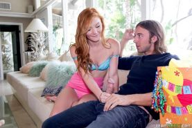 Redhead teen Alex Tanner takes a huge cock in her tight pussy