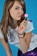 Pictures of Andi Land sucking on a lollipop