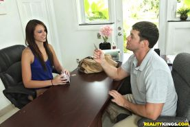 Super smoking hot fucking teen banged hard against the interviewers desk cumfaced