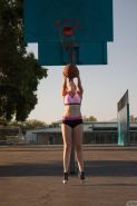 Blonde coed Summer Carter plays one sexy game of basket ball