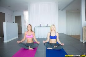 Hot girls Ash Hollywood and Presley Hart fuck their yoga trainer