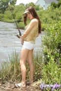 Pictures of Harmony Ann fishing in a see-through top