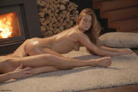 Blonde girl Chrissy Fox has some hot sex by the fireplace