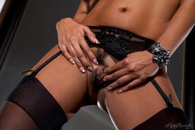Priya Rai puts on her green and black lingerie and spreads her wet pussy for you