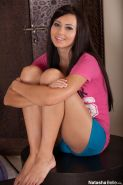 Innocent Natasha Belle strips out of her cute pink tshirt
