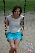Alyssa Doll shows some upskirt pussy at the park