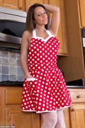 Busty hottie Nikki Sims strips out of her sexy retro dress in the kitchen