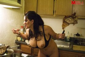 Busty girl Monica Mendez shows you her boobs and bush while cooking you supper