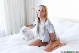 Blonde teen Hollie Mack gets her tight pussy filled with big cock