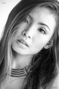 Asian girl Lookwa strips out of her lingerie in black and white