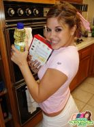 Teen topanga makes a mess in the kitchen
