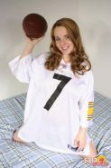 Pictures of Sara Cutie in a football jersey