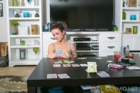Hot tatooed girl Jordan invites you to join her for a game of strip poker