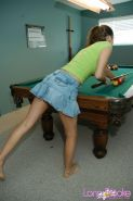 Lana strips on the pool table