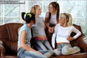 Teen girls in jeans and bare feet